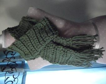 Crochet Thick Scarf, Green, Tassels