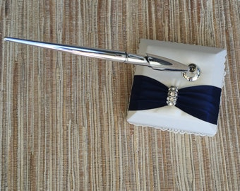 Wedding Guest Book Pen ONLY - NAVY BLUE Satin Ribbon - Ivory and White Wedding Book, Choose Your Color