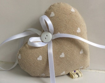 Cream Hanging Heart ~ Hanging Heart in Cream with mini White Hearts ~ Country Cottage Style ~