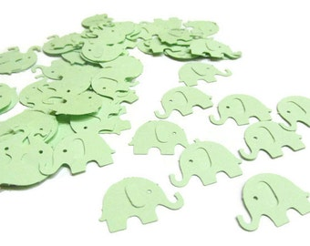 Baby Elephant Confetti in Mint Green, Baby Shower Table Scatter, Small Elephant Cut Outs, Paper Elephant Die Cuts, Baby Shower Confetti