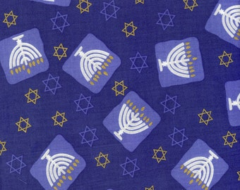 Menorah and stars 100% cotton fabric, sold by the yard