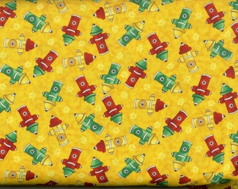 Fire Hydrants  100% cotton fabric, sold by the yard