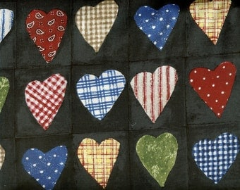 Patchwork Hearts 100% cotton fabric-sold by the yard