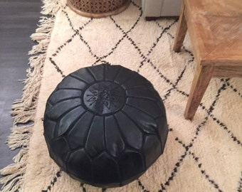 Authentic Large Leather Moroccan Pouf - Black