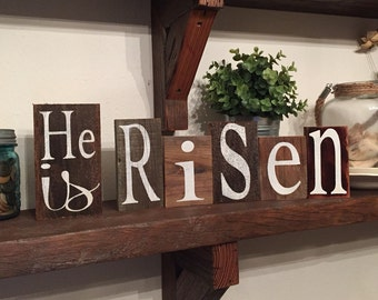 He Is Risen, hand painted wood, rustic gift, Christian blocks, sign, Pastor gift, Risen Savior