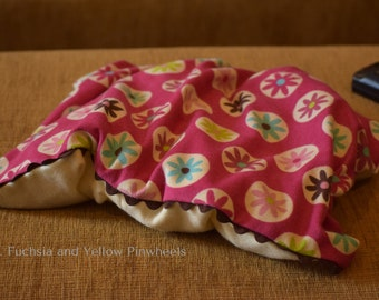 Lumbar, Flannel Sleeves, Fuchsia and Yellow Pinwheels