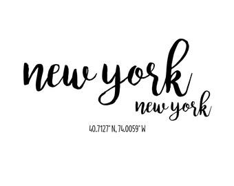 New York New York Coordinates Printable