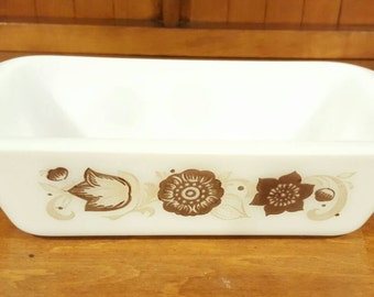 Glasbake Loaf Pan Casserole with a Brown and Tan Floral Pattern