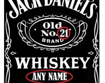 Jack Daniels Personalised Rice Paper Cake Topper A4- Oblong-Rectangle-Wafer- Rice Paper With Any Age And Name Of Your Choice.