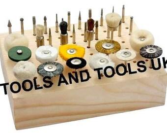 WOODEN STAND HOLDER rack organizer for dremel cutting burr bits 1/8 shank