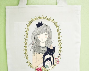 Girl Carry Cat Tote Bag, Reusable Shopper Bag, Cotton Tote, Shopping Bag, Reusable Grocery Bag, Market Bags Gift