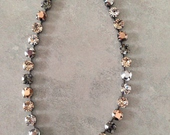 8mm Nuetral Swarovski Crystal necklace