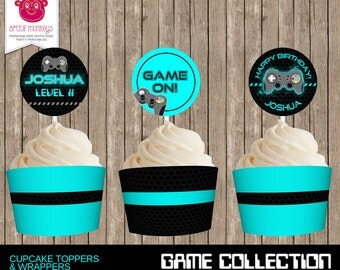Personalised and Printable Video Game Party Cupcake Toppers and Wrappers