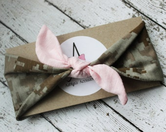 Army baby headband, pink camo baby bow, pink military knotted turban