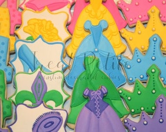 20 Princess Cookies, Birthday, Girls