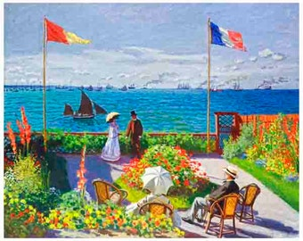 The Garden, At Sainte Adresse  Claude Monet,  art print