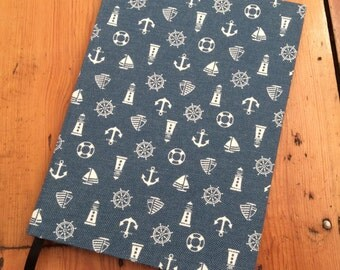 A5 Notebook Handmade in a Nautical Fabric