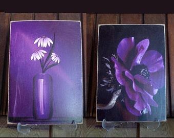 wood print vintage still life wood print set home decor,wood print naturmort print on wood