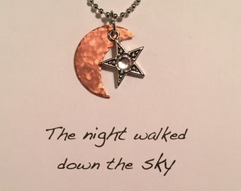 Moon and Star handstamped charm necklace