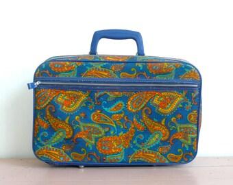 Vintage Blue and Orange Paisley Mini Suitcase