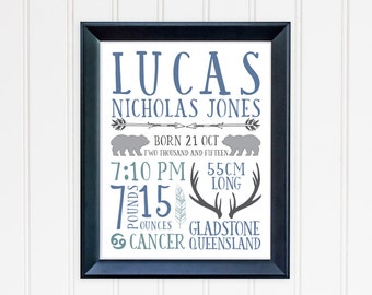 Customised Boys Birth Details Print 8x10 or 11x14 inch - grizzly bear, hunting design - printable