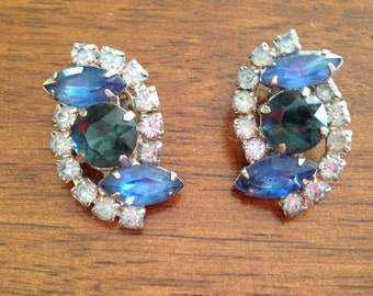 London Blue, Sapphire Blue and Light Blue Rhinestone Earrings 0357