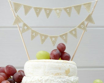 Just Married Cake Topper Bunting - Jute Hessian or Pretty Ivory