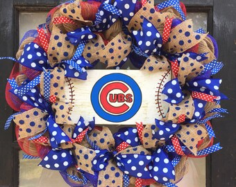 Chicago Cubs wreath, Chicago Cubs wreaths, Chicago Cubs gift, Cubs front door wreath, chicago cubs fan, Cubs decor, Chicago cubs sign