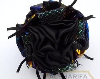 Large Khaleeji Hair Clip Shabasa Hijab Volumizer Black with Multi-Color Lace