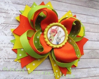 Zootopia hair ribbon bow Party favors Zootropolis hair clip Girls birthday Disney characters Kids stacked bow Kids outfit Little princess