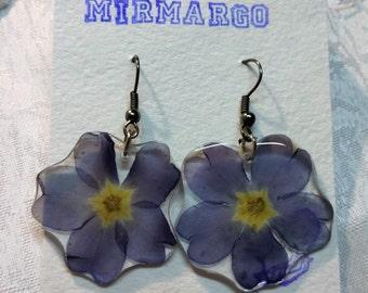 Earrings with primrose - Flowers in resin jewelry - earrings flowers - Blue flowers