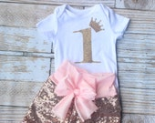 First birthday outfit, pink Sequin shorts, pink baby sequin shorts, glitter onesie, birthday outfit