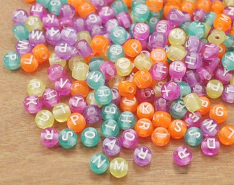 200pcs English tiny Round Alphabet Beads,7mm Brightly Colorful Round Beads,White Color Letters,Acrylic Beads-Plastic Beads With 2mm Hole