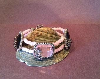 Pink and Purple beaded bracelet
