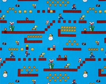 Nintendo Super Mario Game Scenes Gamers Video Game Cotton Fabric per metre per fat quarter