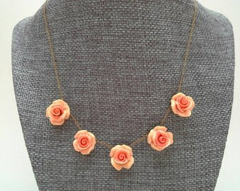 Coral Rose Necklace, Vintage, Rose Necklace, Gold Filled Necklace, Coral Rose Choker, Rosebud Necklace, Pink Rose Necklace