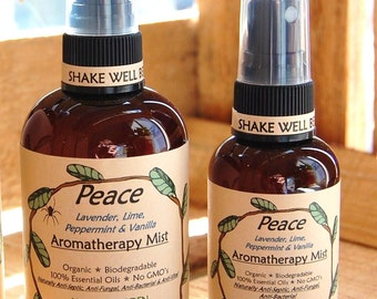 PEACE Aromatherapy Body Room Mist Spray-Natural Biodegradable Organic Vegan-Lime, Lavender, Vanilla & Peppermint 100% Pure Essential Oils