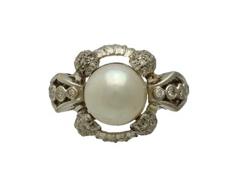 Art Deco Platinum Diamond and Cultured Pearl Ring