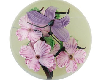 Daniel Salazar for Lundberg Studios Floral Glass Paperweight 1983