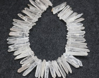 Clear Raw Crystal Point Pendant Crystal Quartz Points pendant Beads, Top Drilled Crystal Rock Trusk Necklace Pendant