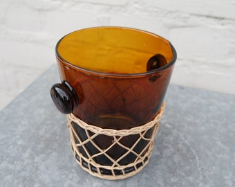 vintage 70s smoked glass and rattin ice bucket