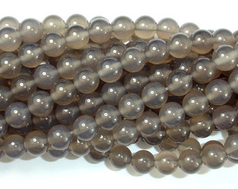 Gray Agate Beads, 8mm (8.3 mm) Round Beads, 15.5 Inch, Full strand, Approx 49 beads, Hole 1 mm, AA quality (241054003)