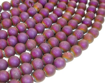 Druzy Agate Beads, Purple Geode Beads, Approx 8 mm(8.5 mm) Round Beads, 15 Inch, Full strand, Approx 47 beads, Hole 1 mm (122054175)