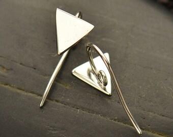 Sterling Silver, Triangle Earrings, Hidden Loop, Silver Triangles, Geometric Earrings, Hook Earrings, Earring Supplies, Silver Hooks