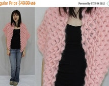 On Sale Vintage 70s Pink FUZZY Mohair Hand CROCHET Shell Pattern Cape Shawl Stole