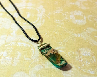 Wire-wrapped Natural Sedona Stone Necklace with Leather Cording