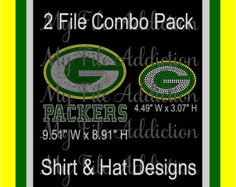 d9459bedc9359 Instant Download Rhinestone SVG EPS Design File Green Bay Packers Football  Shirt   Hat Combo Pack