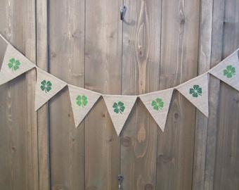 Shamrock burlap banner - Saint Patrick's Day banner with green shamrocks