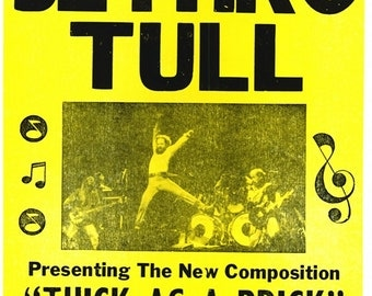 Jethro Tull, Royal Albert Hall, 1972 - Retro Print with Black Card Frame (23CM X 17CM)
