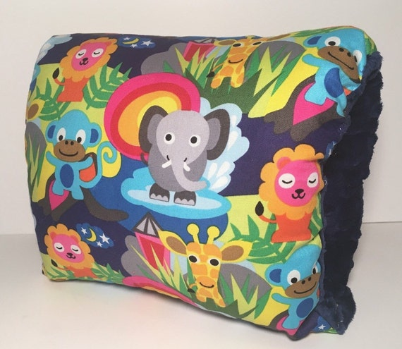 Animal Nursing Pillow : Jungle Baby Nursing Pillow/ Blue Pink Animals Breastfeeding